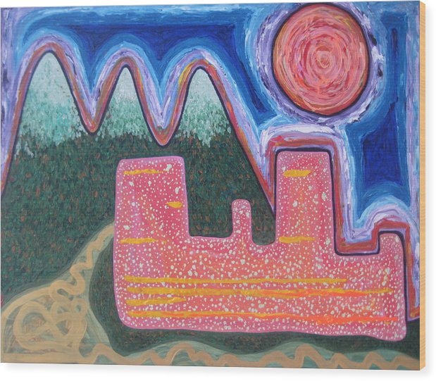 Seattle Wood Print featuring the painting Seattle Dawn by Sarah England-Rocca