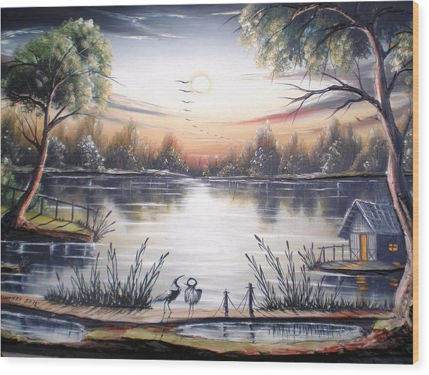 Mixedmedia Wood Print featuring the painting Zalez by Vasil Slavtchev