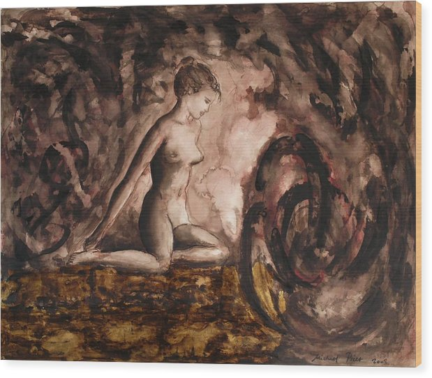 Nude Wood Print featuring the painting Before Time by Michael Price