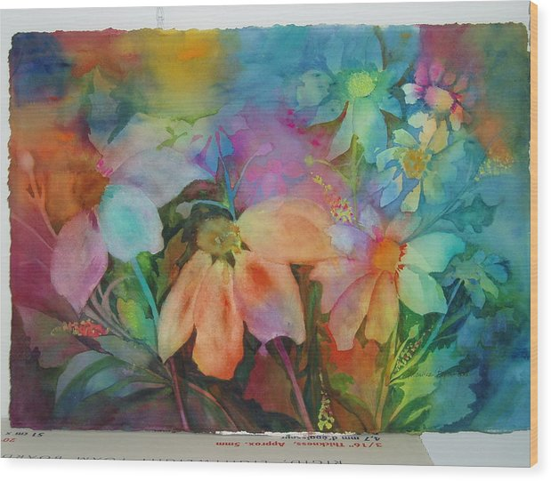 Flowers Wood Print featuring the painting Daisies by Maritza Bermudez
