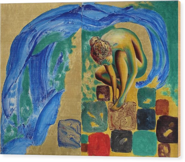 Nude Wood Print featuring the painting Delightful Discoveries by Michael Price