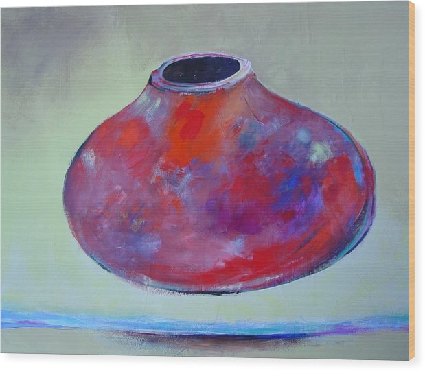 Still Life Wood Print featuring the painting Floating Pot by Paul Miller