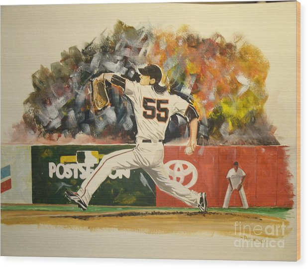 Sports Wood Print featuring the painting Freaky Tim Lincecum by Phil King