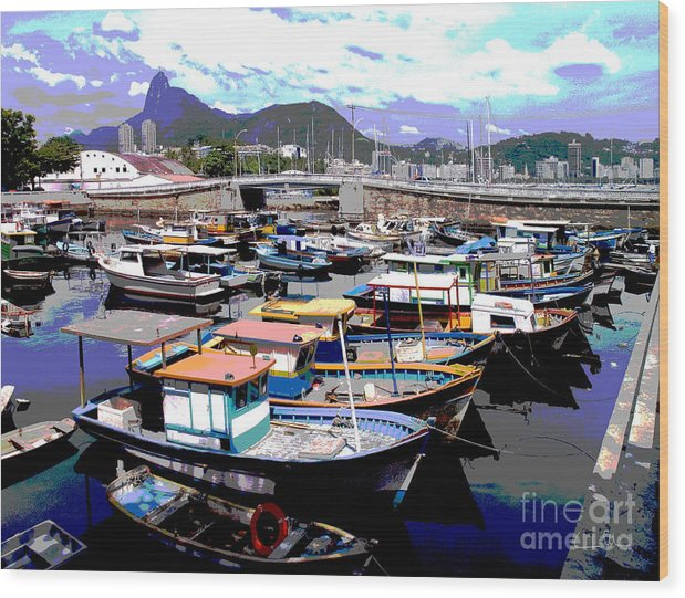 Boats Boat Wood Print featuring the photograph Harbour 01 by Carlos Alvim