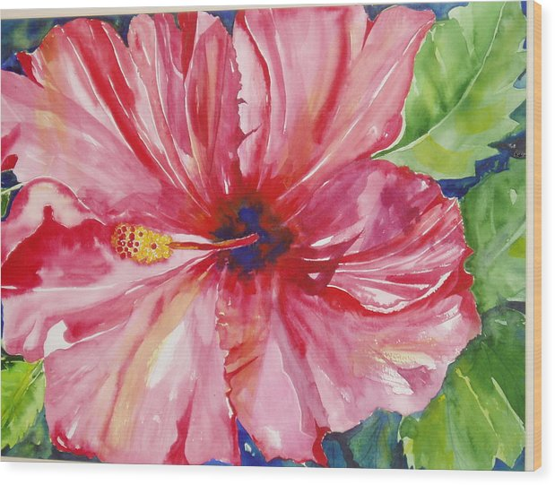 Flower Wood Print featuring the painting Hibiscus by Maritza Bermudez