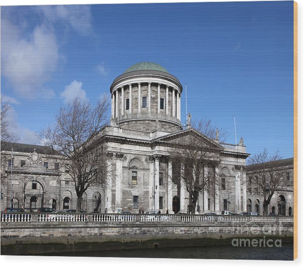 Riverscape Wood Print featuring the photograph The Four Courts North Quays Dublin by Ros Drinkwater
