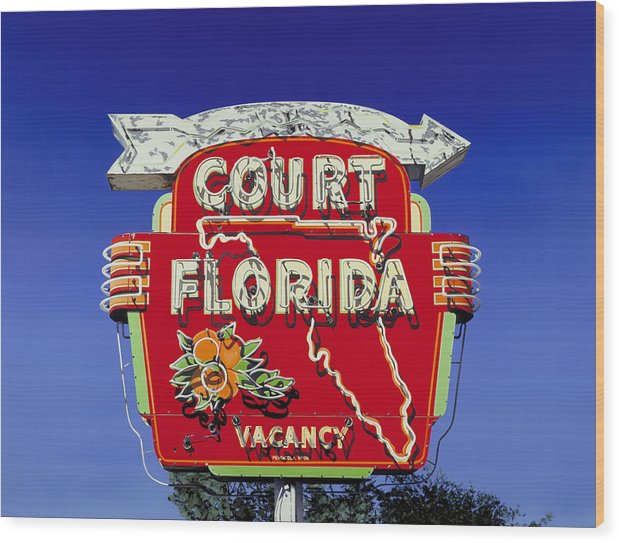 Neon Wood Print featuring the painting Court Florida by Randy Ford