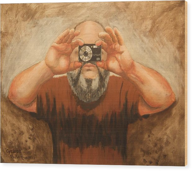 Self Portrait Wood Print featuring the painting Cyclopes A Self Portrait by Reuven Gayle