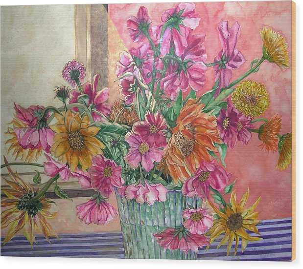 Watercolor Wood Print featuring the painting Ruth's Bouquet by Caron Sloan Zuger