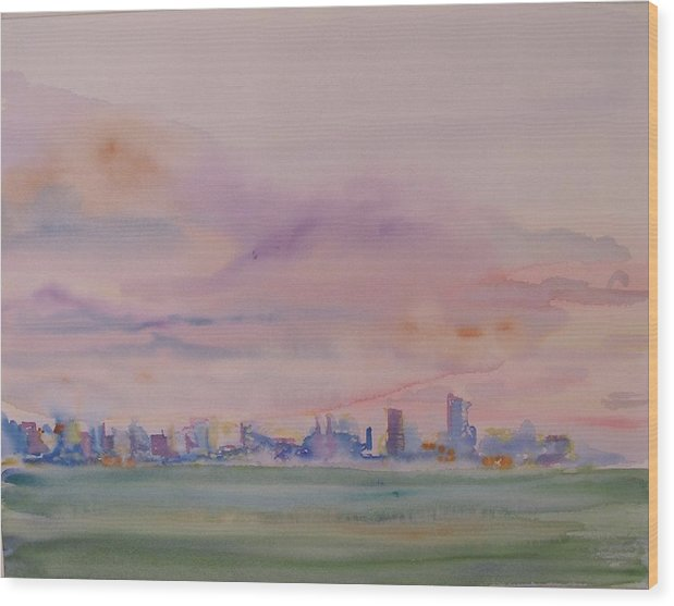 Dawn Wood Print featuring the painting Miami Water by Christine Bohrer