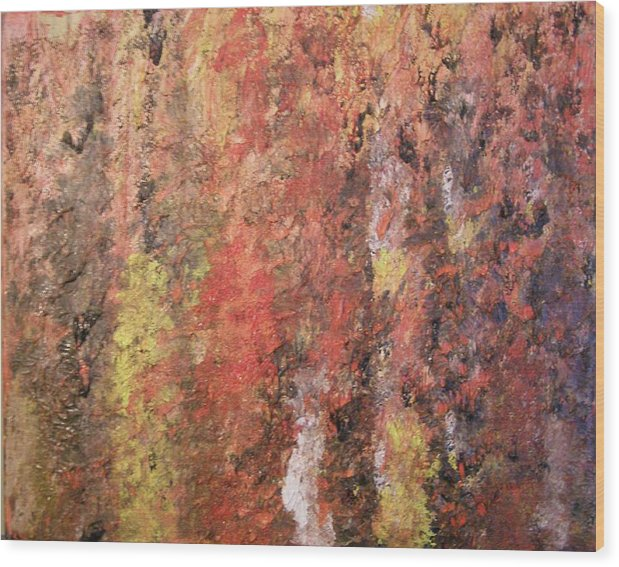 Abstract Wood Print featuring the painting Dreaming In Fall Colors by Don Phillips