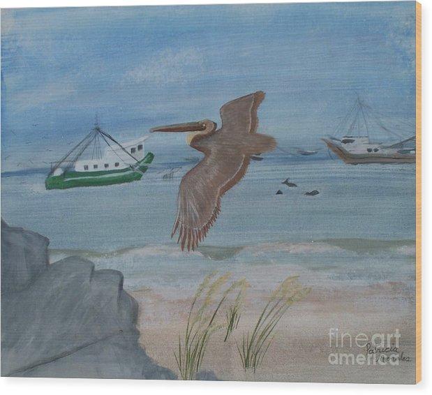 Grand Isle/grand Isle Louisiana/shrimping/beaches/pelicans/birds/water/wildlife/shrimp Boats/ Wood Print featuring the painting Grand Isle Louisiana by Patricia Morales