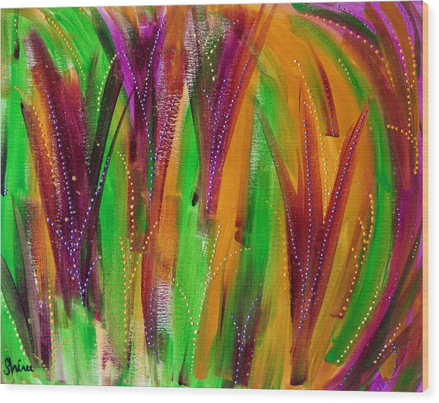 Acrylic Paintings Wood Print featuring the painting Mardi Gras by Shiree Gilmore