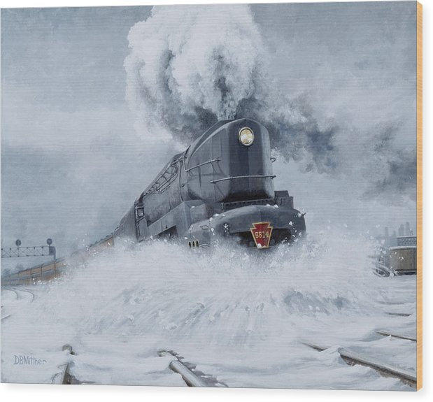 Trains Wood Print featuring the painting Dashing Through The Snow by David Mittner