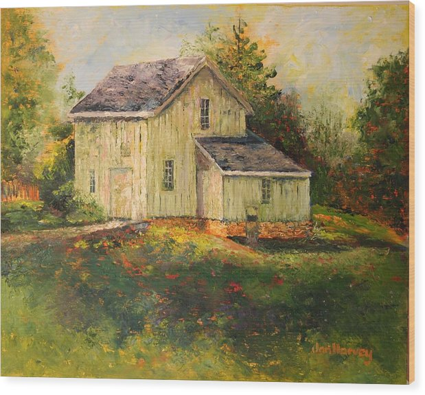 Landscape Wood Print featuring the painting Pine Hill Barn by Jan Harvey