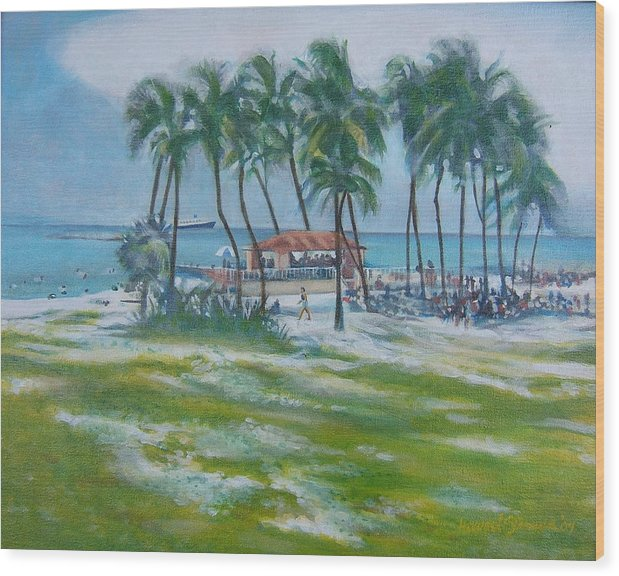 Beach Scene In The Bahamas Wood Print featuring the painting Bahama Beach by Howard Stroman