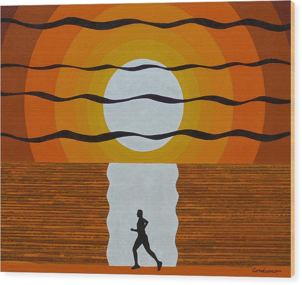 Jogger Wood Print featuring the painting Sunrise Jogger by James Cordasco