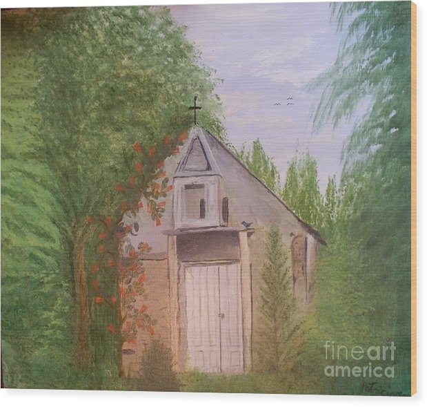 Church Wood Print featuring the painting Old New Mexico Church by Patricia Morales