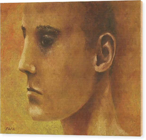 Face Wood Print featuring the painting Golden Boy by Ralph Papa
