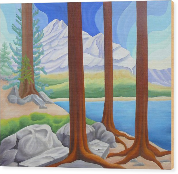 Landscape Wood Print featuring the painting Rocky Mountain View 1 by Lynn Soehner