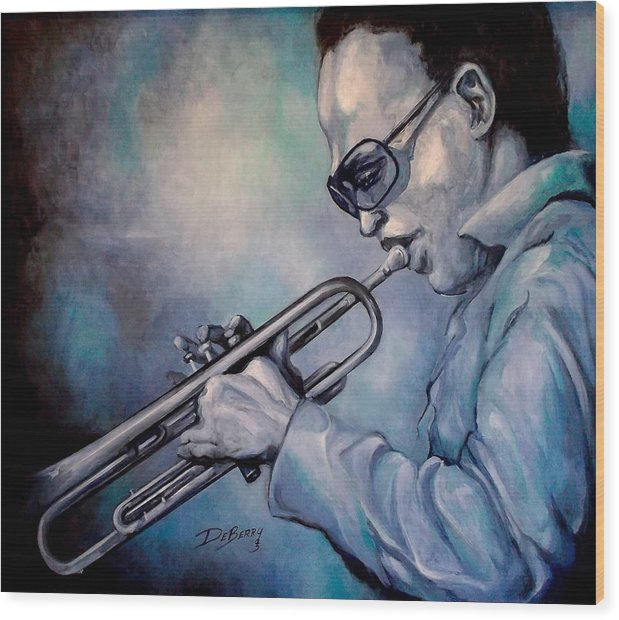 Glecee Limited Edition Print Of Miles Davis Wood Print featuring the painting All Blue Print by Lloyd DeBerry