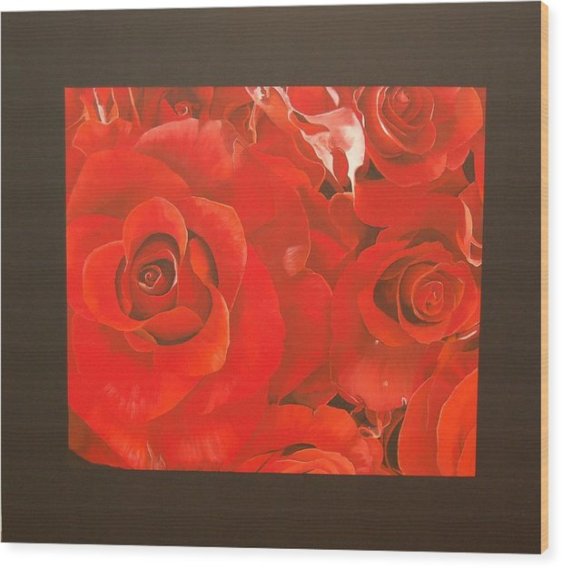 Red Roses-flowers Wood Print featuring the painting Red Roses by Judith Hoof van