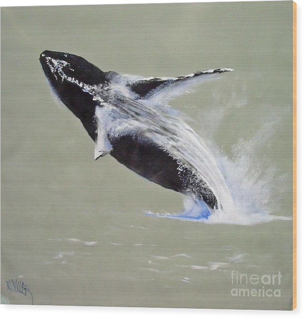 Kihei Wood Print featuring the painting Humpback Off Kihei Maui by Paul Miller