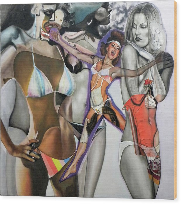 Models Wood Print featuring the painting Propaedeutic To Any Future Metacosmetic by Riccardo Alone