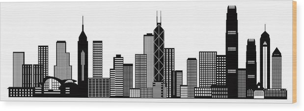 Hong Kong City Skyline Black And White Illustration Wood Print
