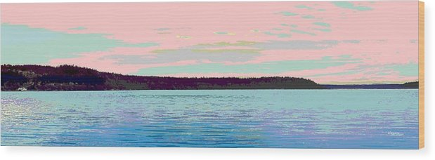 Abstract Wood Print featuring the digital art Mukilteo Clinton Ferry Panel 1 Of 3 by James Kramer