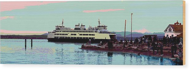 Abstract Wood Print featuring the digital art Mukilteo Clinton Ferry Panel 3 Of 3 by James Kramer