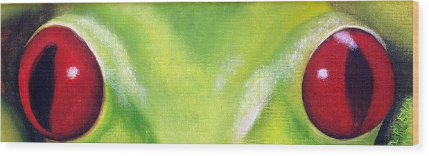 Red Eyed Tree Frog Wood Print featuring the painting Red Eyed Tree Frog by Darlene Green