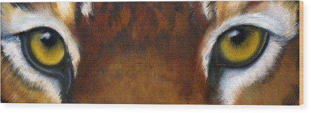 Tiger Eyes Wood Print featuring the painting Whos Watching Who  Tiger by Darlene Green