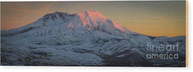 Mt. St. Helens Wood Print featuring the photograph Mt. St. Helens Sunset by Matt Hoffmann