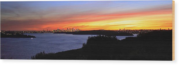 Sunset Wood Print featuring the photograph City Lights In The Sunset by Miroslava Jurcik