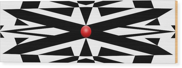 Abstract Wood Print featuring the digital art Red Ball 25a Panoramic by Mike McGlothlen