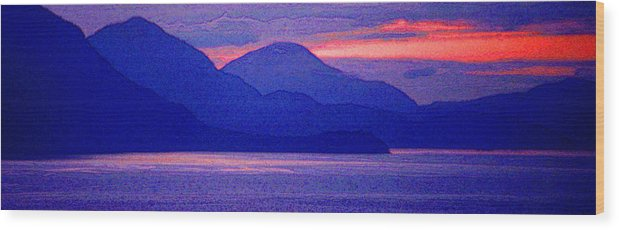 Pacific Wood Print featuring the photograph After Sunset Mountains 5 Pd by Lyle Crump
