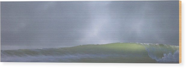 Wave Wood Print featuring the painting Before The Rain by Philip Fleischer