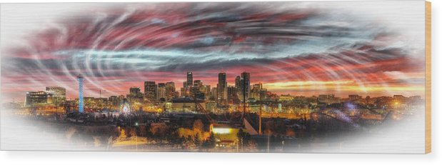 Wood Print featuring the digital art Denver Skyline by Rod Jellison