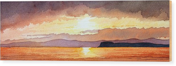 Seascape Wood Print featuring the painting Islay And Cara From Kintyre Scotland by Paul Dene Marlor