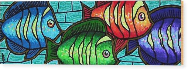 Tropics Wood Print featuring the painting Tropic Swim by Jim Harris