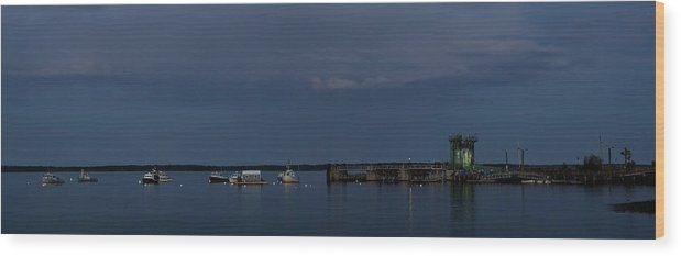 Low Light Wood Print featuring the photograph Lincolnville Ferry Evening by Mark Schumpert