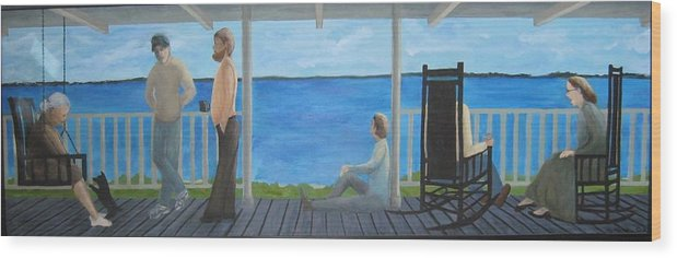 Seascape Wood Print featuring the painting Porch People by Sheryl Sutherland