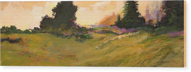 Landscape Wood Print featuring the painting Evening Meadow by Dale Witherow