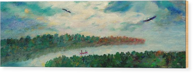 Canoeing On The Big Canadian Lakes Wood Print featuring the painting Exploring Our Lake by Naomi Gerrard