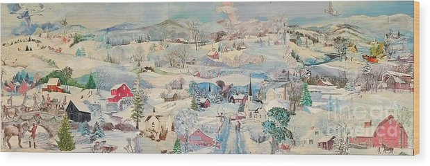 Snow Wood Print featuring the mixed media Snowy Village - Sold by Judith Espinoza
