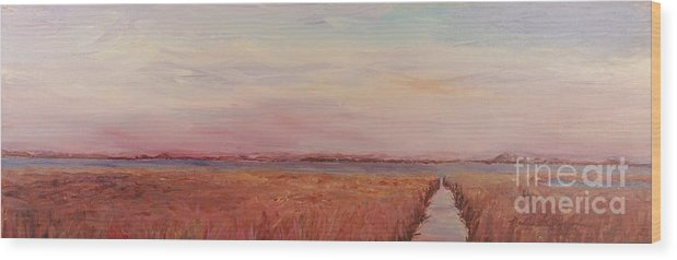 Landscape Wood Print featuring the painting Provence Camargue by Nadine Rippelmeyer
