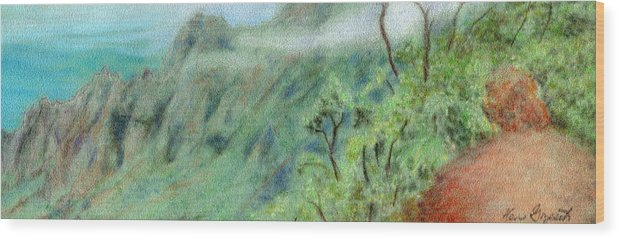 Rainbow Colors Pastel Wood Print featuring the painting Trail's End by Kenneth Grzesik