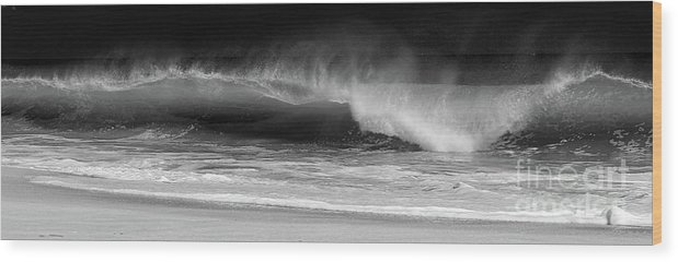 Ocean Wood Print featuring the photograph Wavescape by Mary Haber