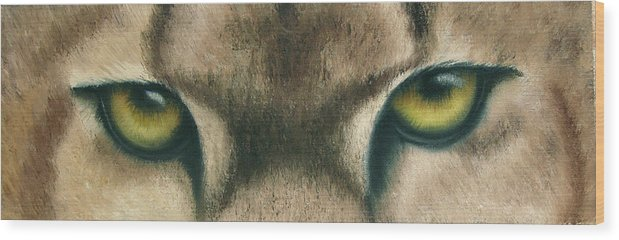 Panther Eyes Wood Print featuring the painting Whos Watching Who Panther by Darlene Green